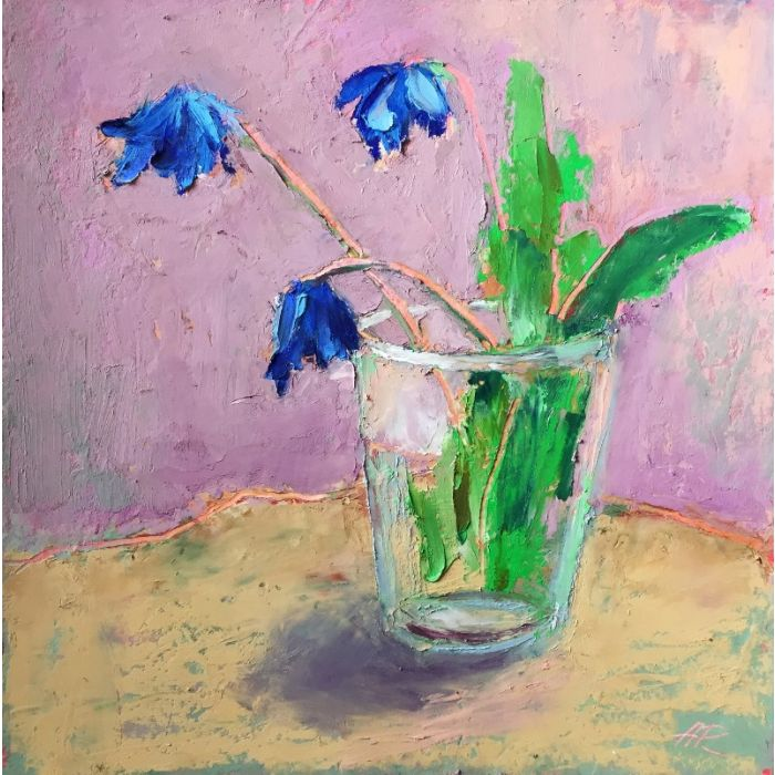 Blue Flowers Floral Painting.