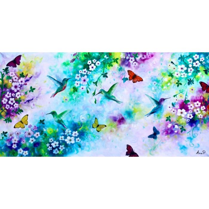 Original oil painting flowers and birds, hummingbird painting, floral painting, Butterflies