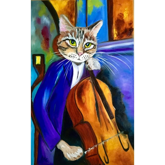 TROY THE CAT CELLIST INSPIRED BY PORTRAIT OF AMEDEO CLEMENTE MODIGLIANI