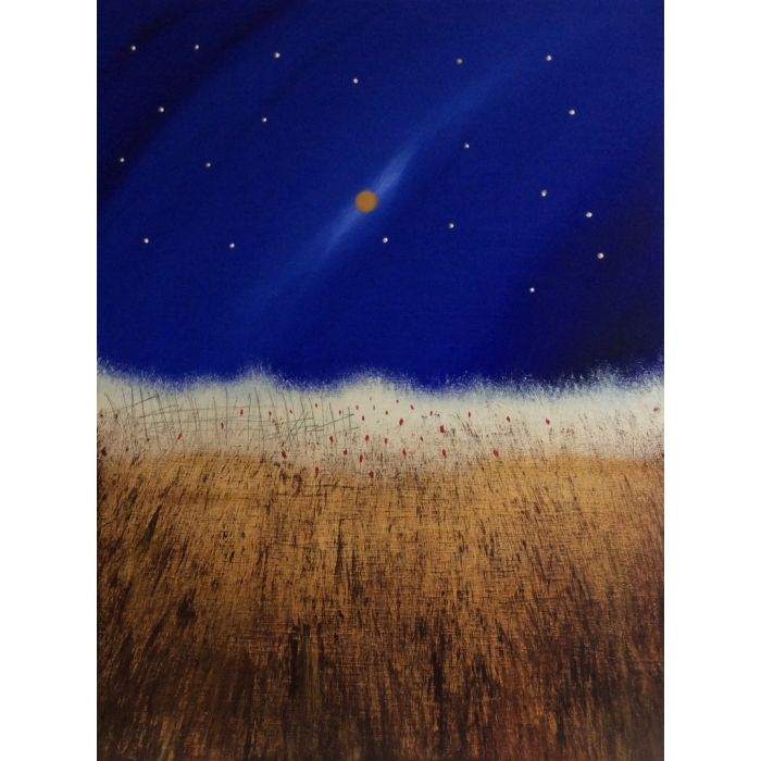 Wild Wheat And A Golden Moon- Acrylic On Stretched Canvas