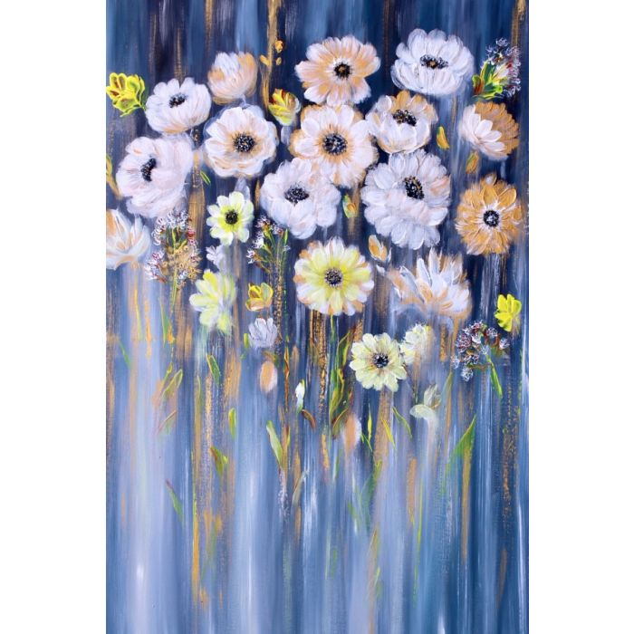 Grey gold  flower Painting  On Canvas,Oil painting, Blooming Flower,Palette Knife Painting,Texture Painting