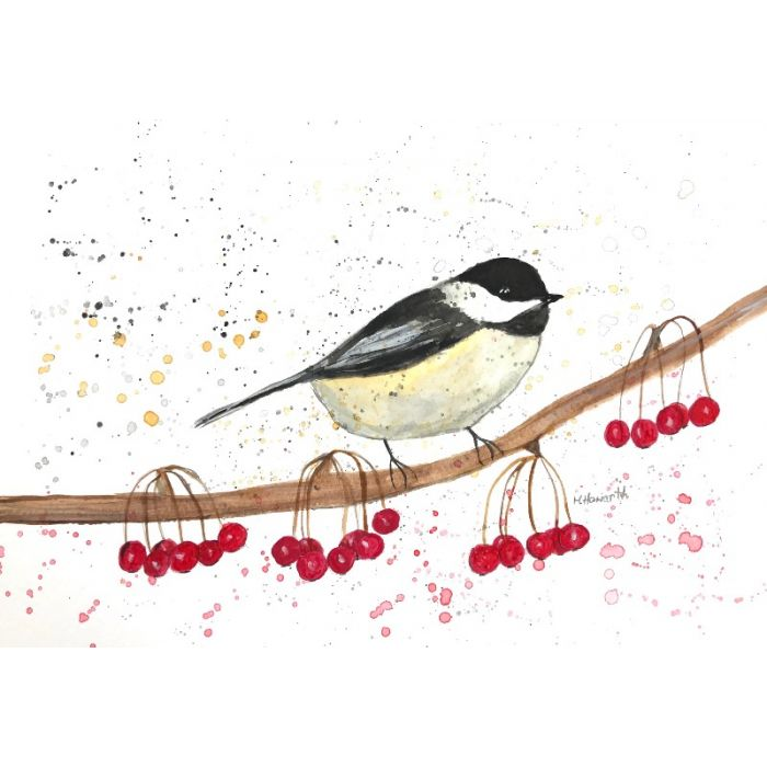 Coal tit with berries