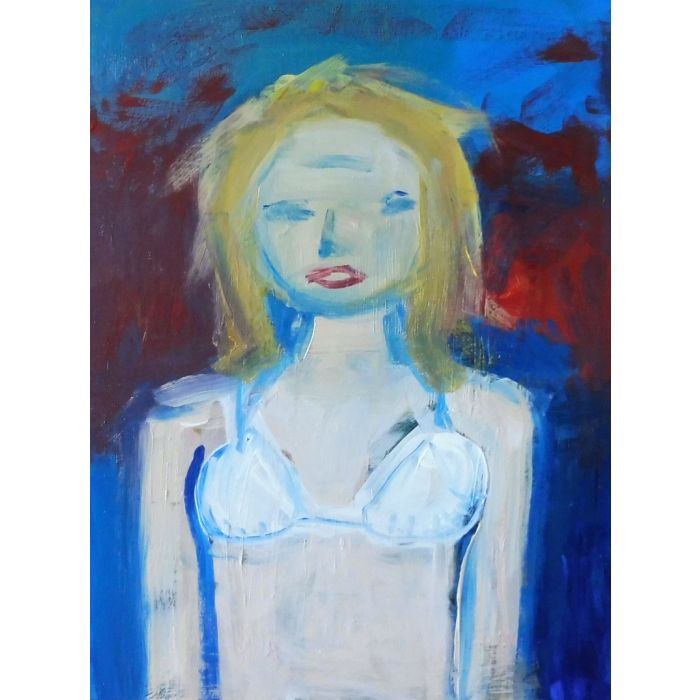 GIRL BLONDE WHITE BIKINI PORTRAIT. Original Female Figurative Acrylic Painting. Varnished.