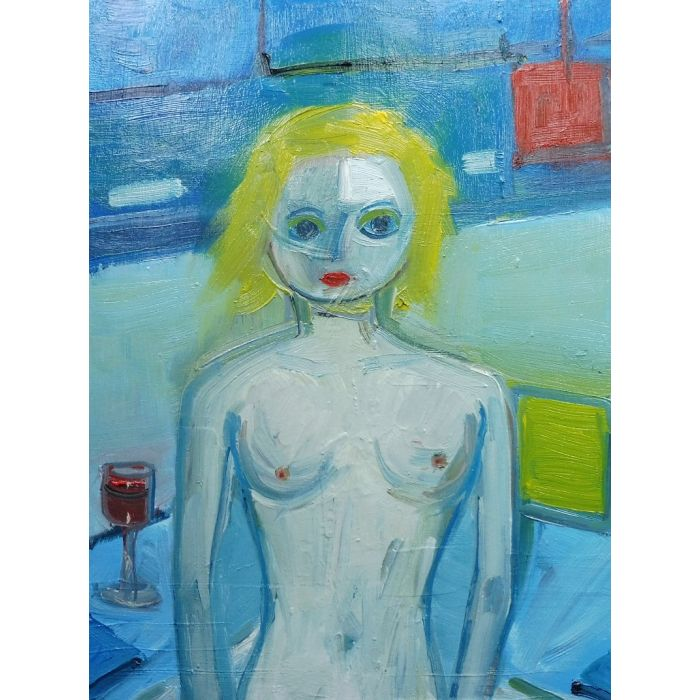 NUDE CUTE BLONDE GIRL RED WINE. Original Female Figurative Oil Painting. Varnished.