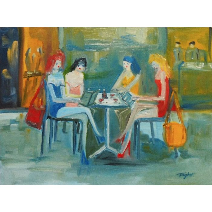 PRETTY FEMALE FASHION MODELS, RED WINE, RESTAURANT, Blue Pink Yellow Red Dresses. Original Female Figurative Oil Painting. Varnished.