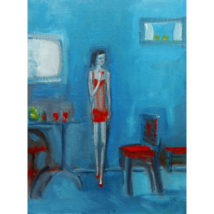 GIRL RED DRESS, RED WINE. Original Impressionistic Figurative Oil Painting. Varnished.