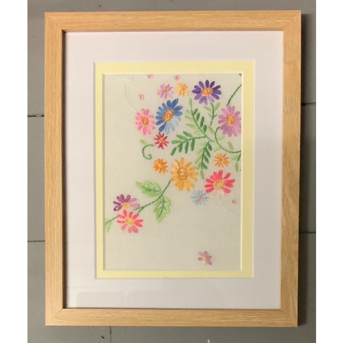 Summer Bliss - framed 1930s vintage embroidery