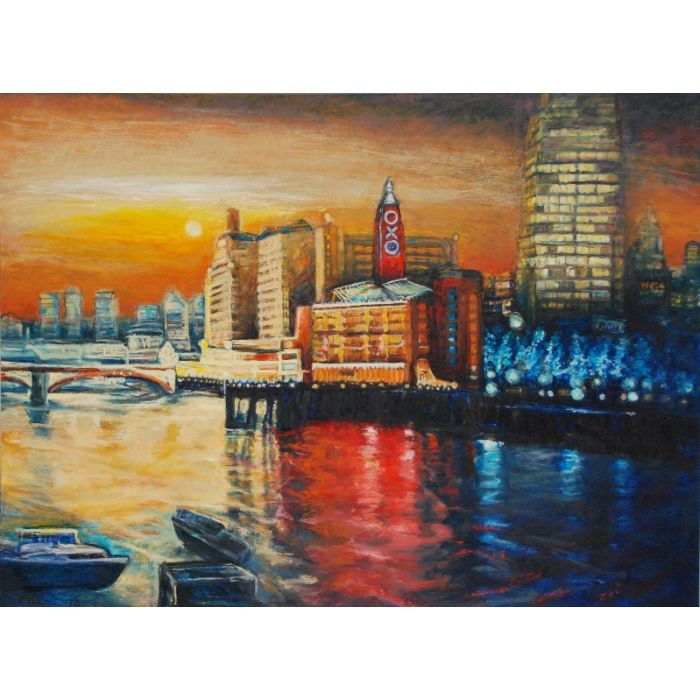 Oxo Tower London cityscape oil painting