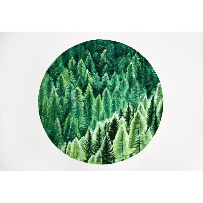 Green Forest Original Watercolour Painting by Moira Gyenes