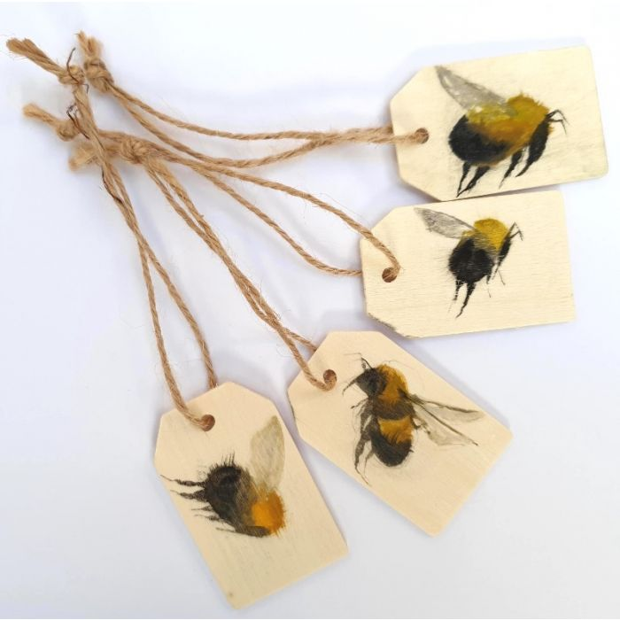 5 handpainted Wooden Bee tags
