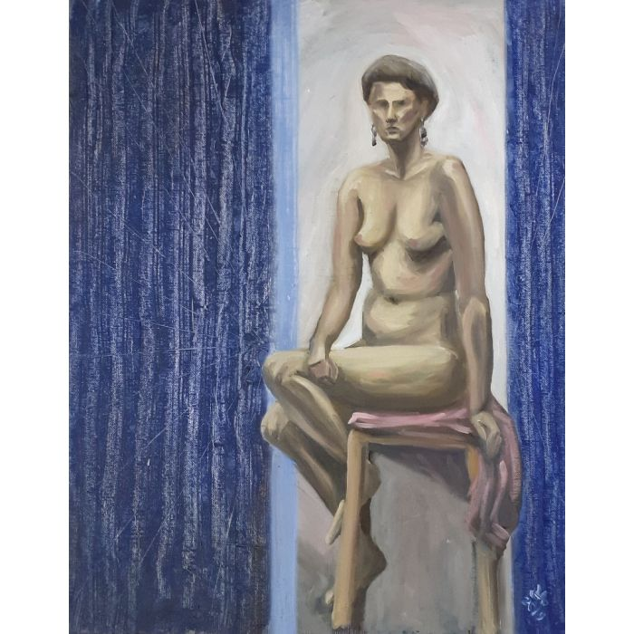 Nude with blue walls