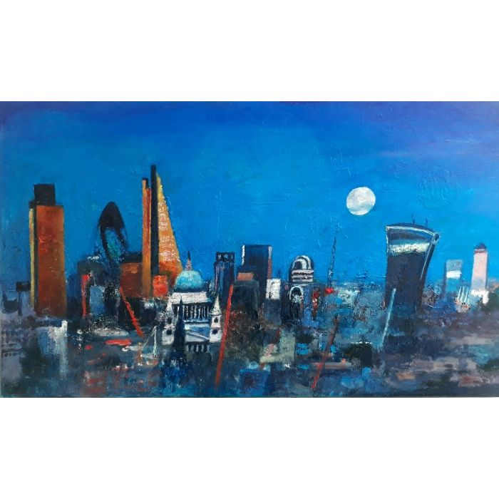 City of London with full moon.