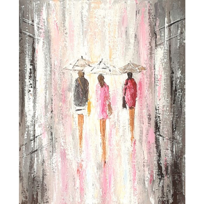 Pink Shimmer Showers - Original Acrylic Painting On Canvas