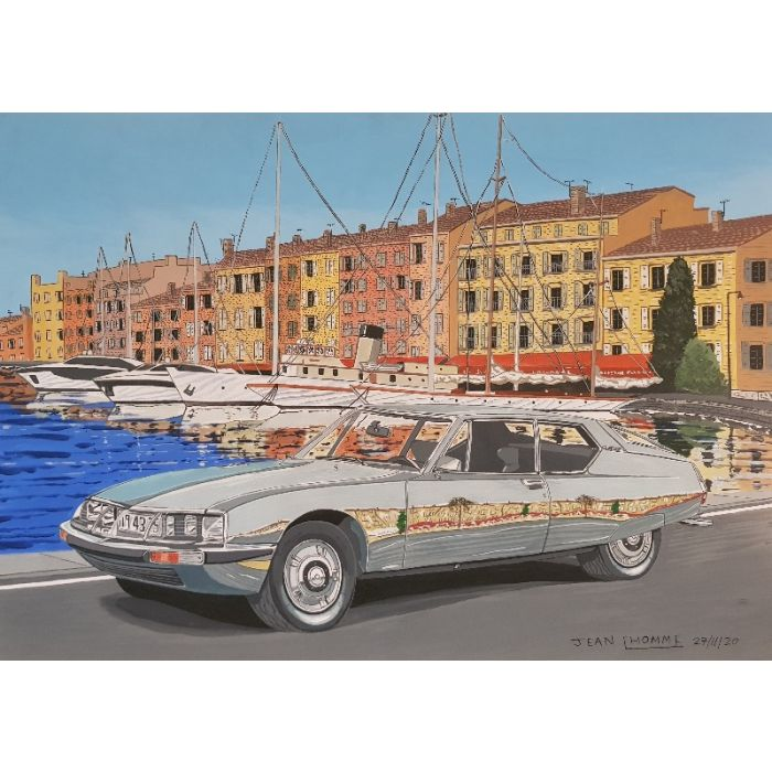 1973 Citroen SM in the old harbour of St Tropez.