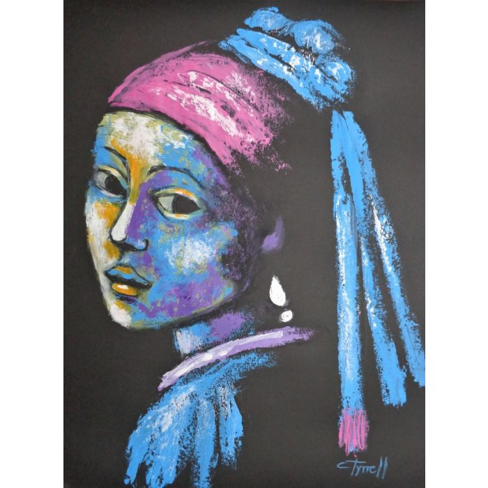 Girl With A Pearl Earring And Pink Scarf - Portrait