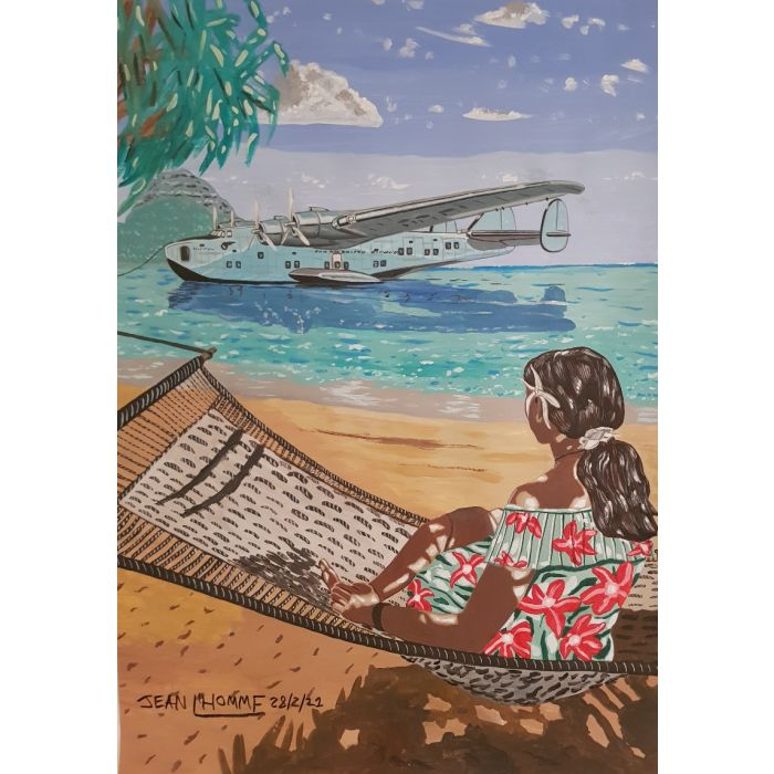 1936 Boeing 314 Clipper with a Hawaiian woman watching in her hammock