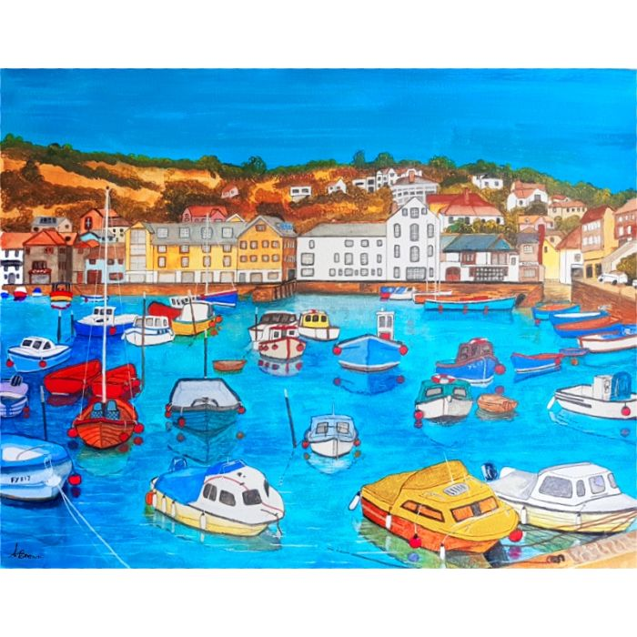 A harbour somewhere with colourful boats moored
