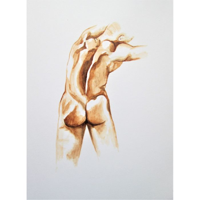 Adonis. Nude back of a strong muscle man painting