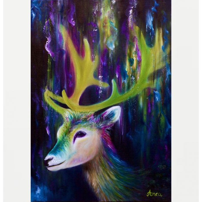 Stag painting, animal wall art