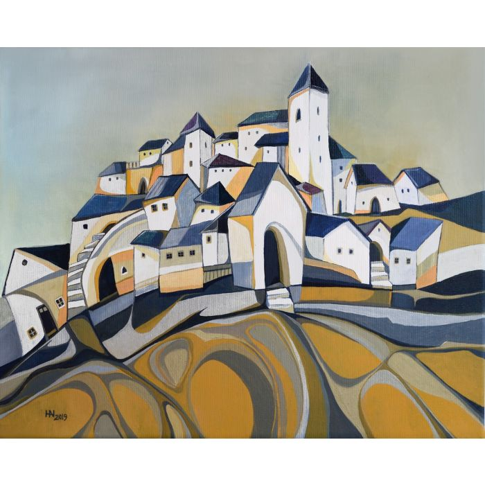 Tower of the citadel - Original semi-abstract painting with houses, stairs and a tower