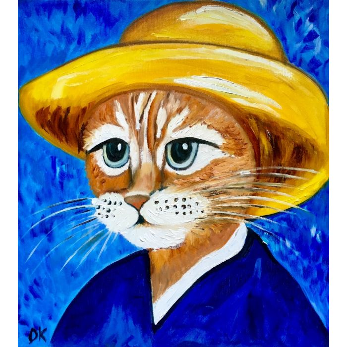 CUTE CAT LA VINCENT VAN GOGH INSPIRED BY FAMOUS SELF-PORTRAIT