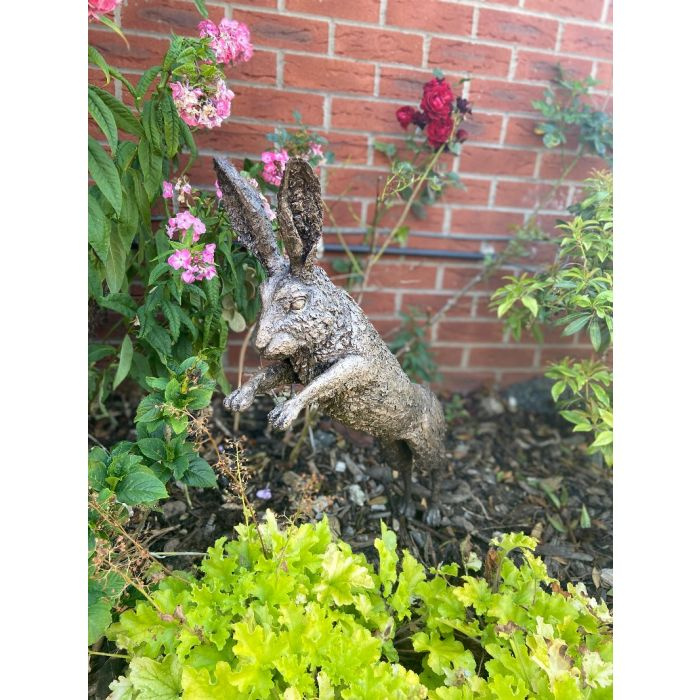 Leaping hare bronze
