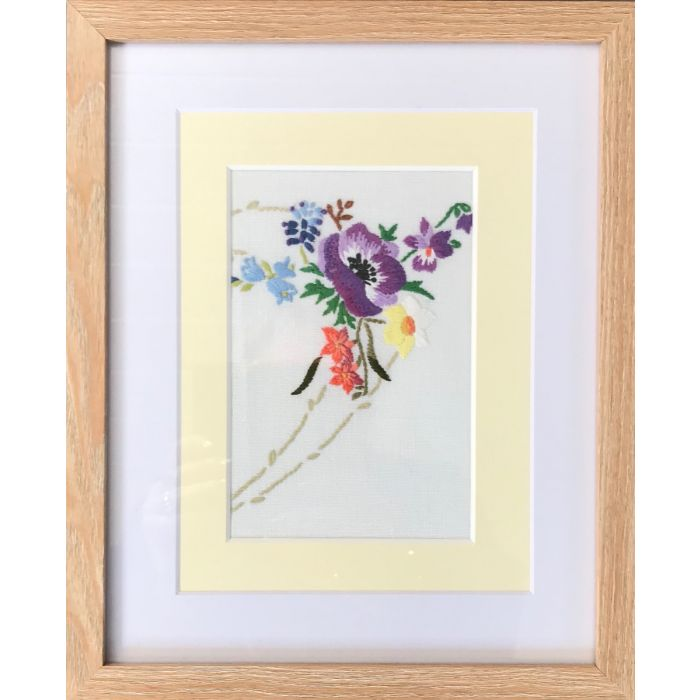 Enchanted April - hand embroidered 1930s vintage floral art - framed