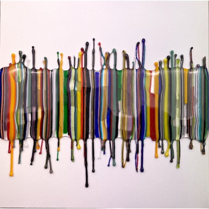 Abstract Glass Drip Mounted Panel