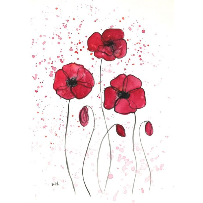 Red poppies flowers illustration nr 2