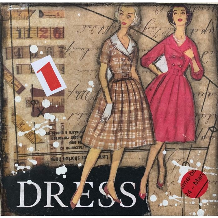 "Dress to impress, mixed media wall art 8""x8"""