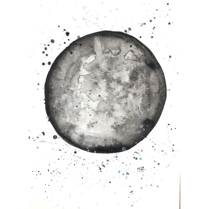 Moon watercolour painting