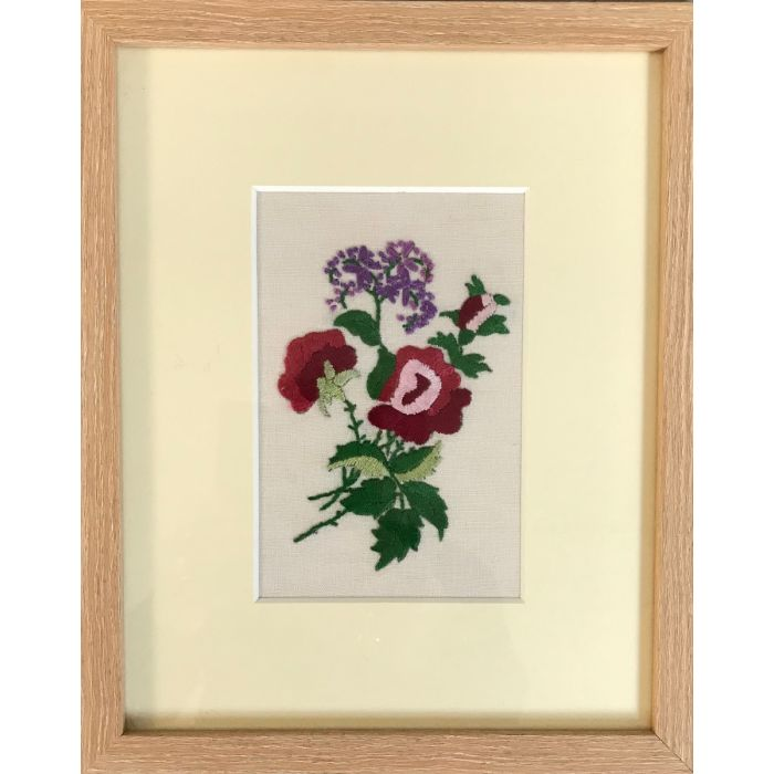 Roses are Red - hand embroidered 1930's vintage floral art - framed