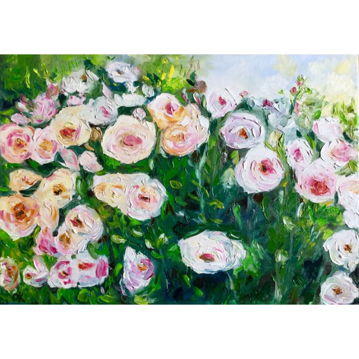 White, pink, yellow roses in a garden