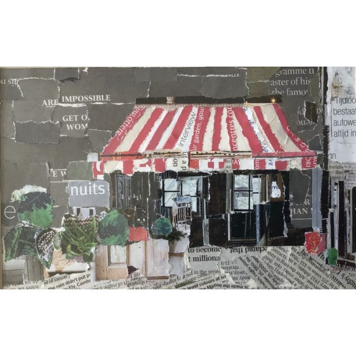 Cafe with striped awning