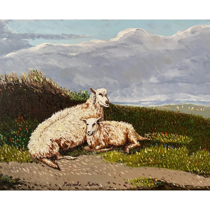 Sheep and lamb in a landscape