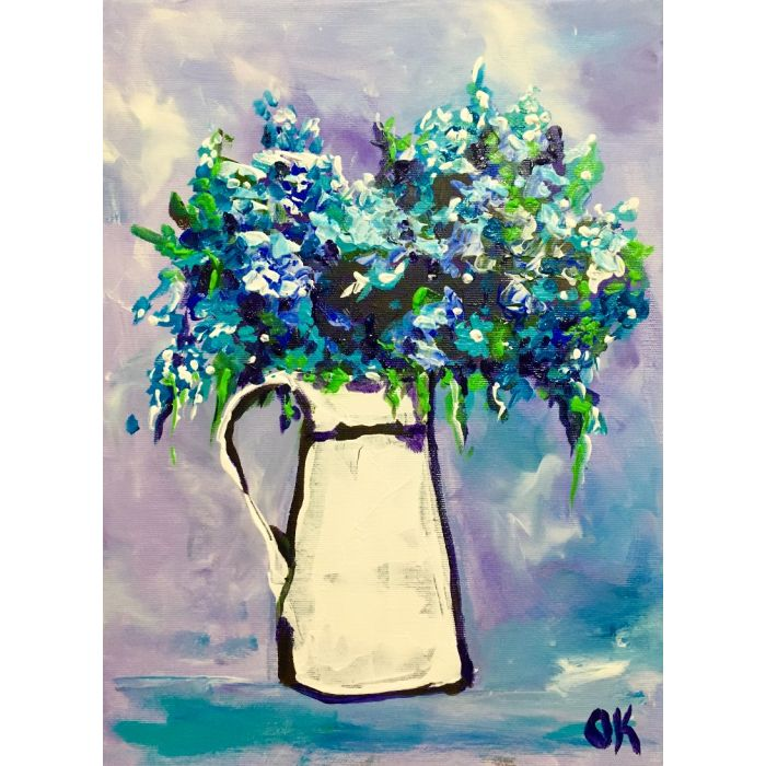 Blue collection,  wild flowers in a jar.