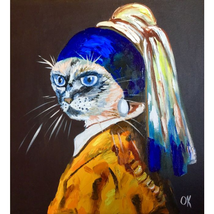 Siamese cat with the pearl earring