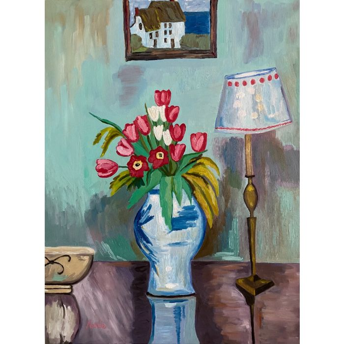 Tulips in a vase, with Vanessa Bell