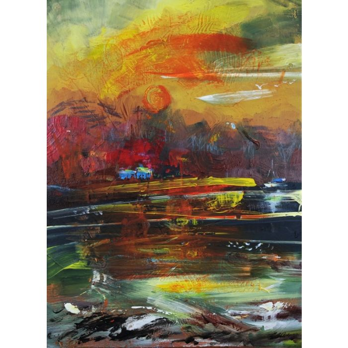 Abstract Landscape Cottage River 216