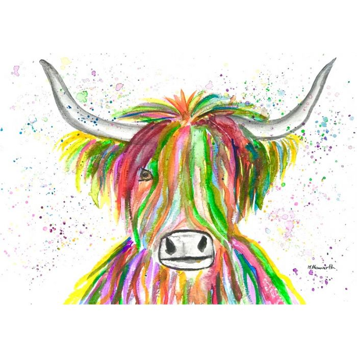 Rainbow highland cow watercolour painting A4