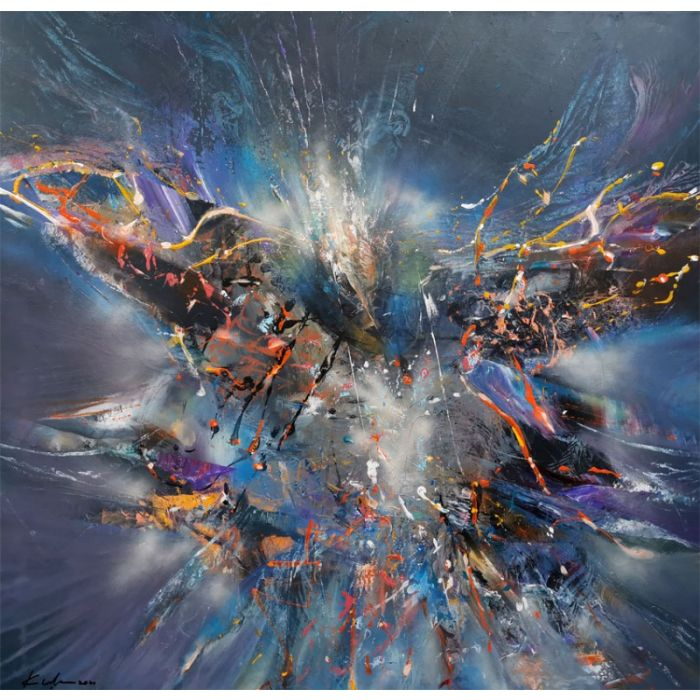 Gigantic XXL huge painting fascinating shape and colors abstract bird butterfly dreams childhood theme signed O KLOSKA