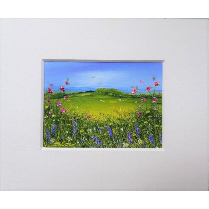 Wildflowers . Landscape . Original Oil Painting  . Mounted