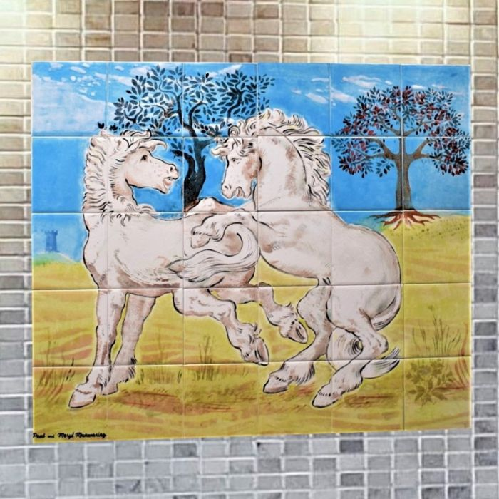 Ceramic Tile Mural with Two White Horses
