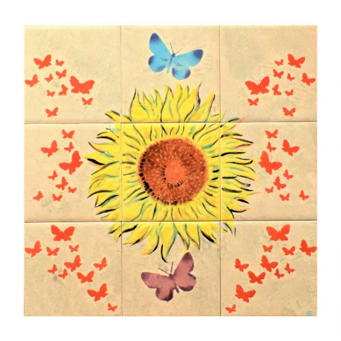 Sunflower Glazed Tile Mural with Butterflies in Grey