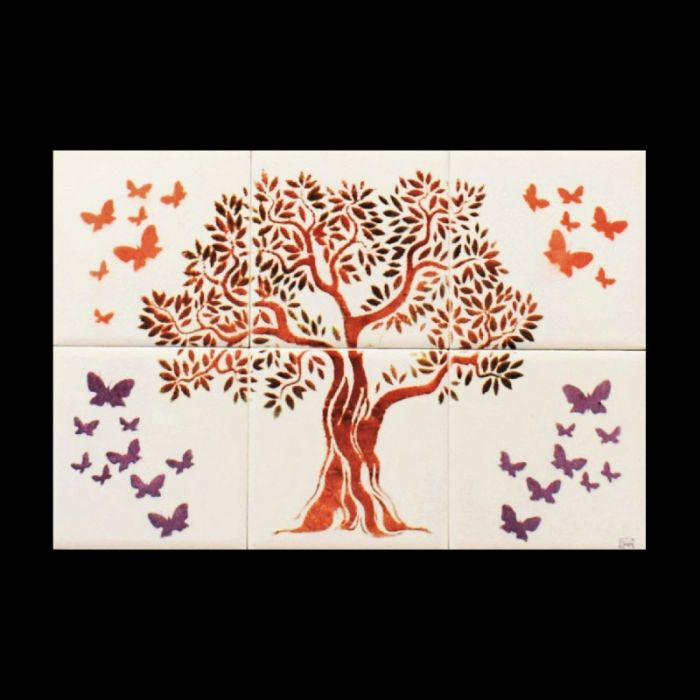 Handmade Ceramic tiles with Tree of Life