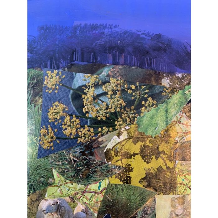 The light of a clear blue morning - original collage painting
