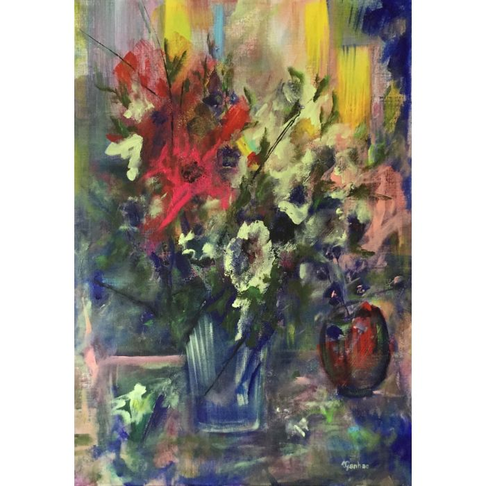 Still life. Original acrylic and mixed media painting on linen canvas. Free shipping.