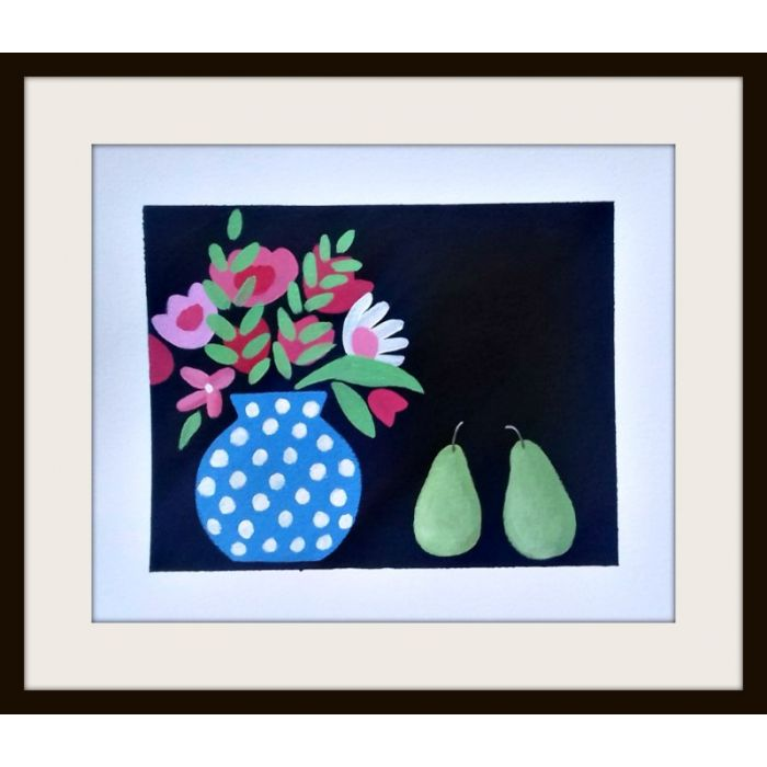Flowers and 2 Pears
