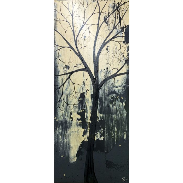 Gold and Black Tree Portrait 16 x 40inch