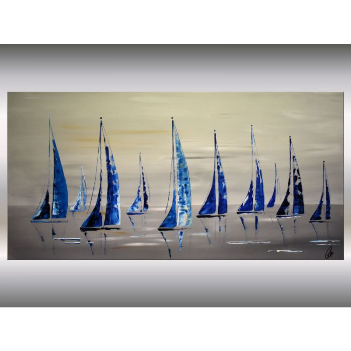 Summer - acrylic abstract sailboat painting on canvas